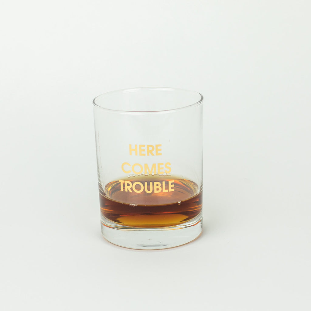Here Comes Trouble Rocks Glass by Chez Gagné Barware