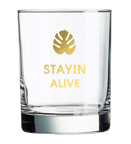 Stayin Alive - Monstera Leaf Rocks Glass