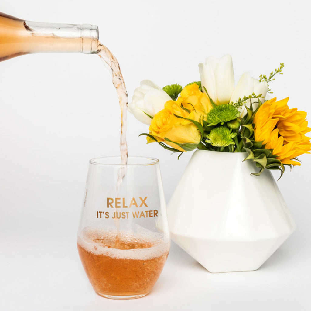 Relax It's Just Water 19oz Stemless Wine Glass by Chez Gagne