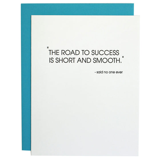 Road to Success Encouragement Letterpress Card