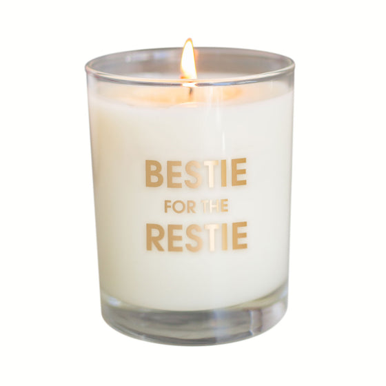Bestie for the Restie Candle - Gold Foil Rocks Glass (Slightly Imperfect)