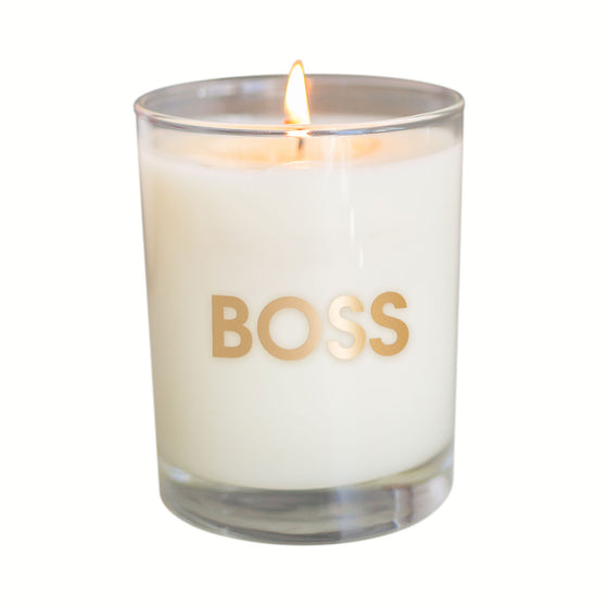 Boss Candle - Gold Foil Rocks Glass (Slightly Imperfect)