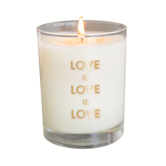 Love is Love Candle - Gold Foil Rocks Glass (Slightly Imperfect)