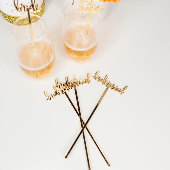 Bridesmaid Gold Acrylic Cocktail Stirrers & Cake Toppers