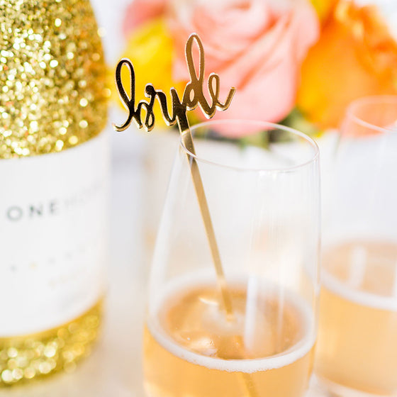 Bride Gold Acrylic Single Cocktail Stirrer & Cake Topper