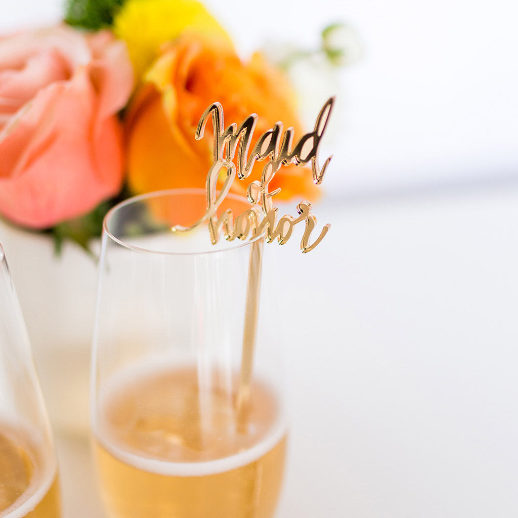 Maid of Honor Gold Acrylic Single Cocktail Stirrer & Cake Topper