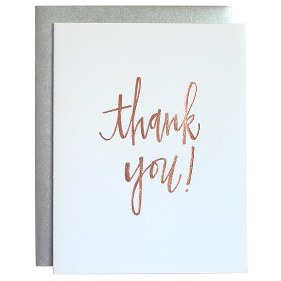 Thank You Rose Gold Letterpress Card