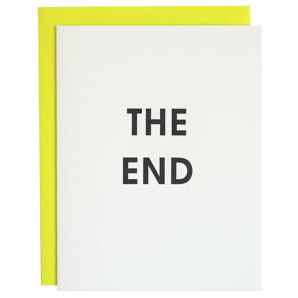 The End Letterpress Card