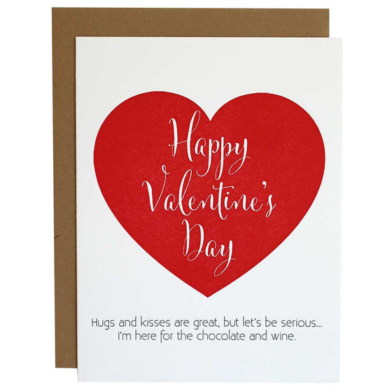 Valentine's Day Chocolate & Wine Letterpress Card