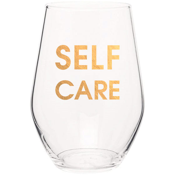 Chez Gagne Chez Gagné Self Care - Gold Foil Stemless Wine Glass Media