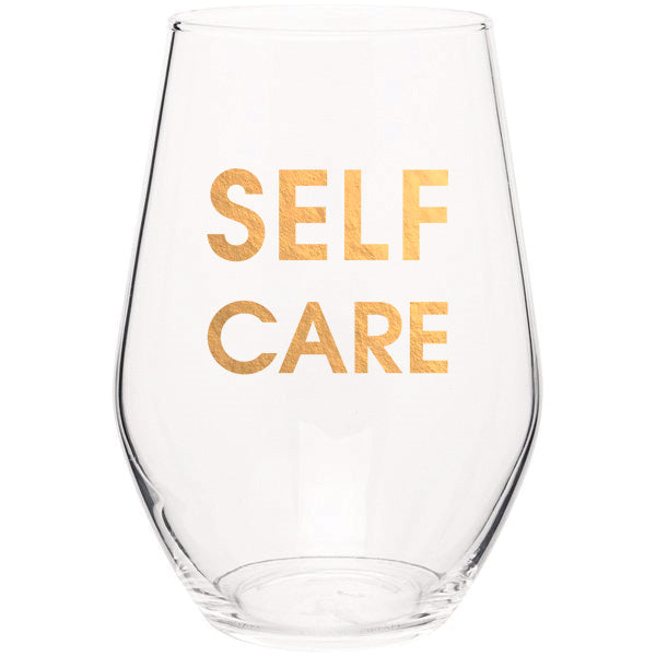 Self Care - Gold Foil Stemless Wine Glass (Slight Imperfections)