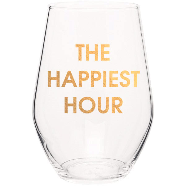 The Happiest Hour - Gold Foil Stemless Wine Glass (Slight Imperfections)