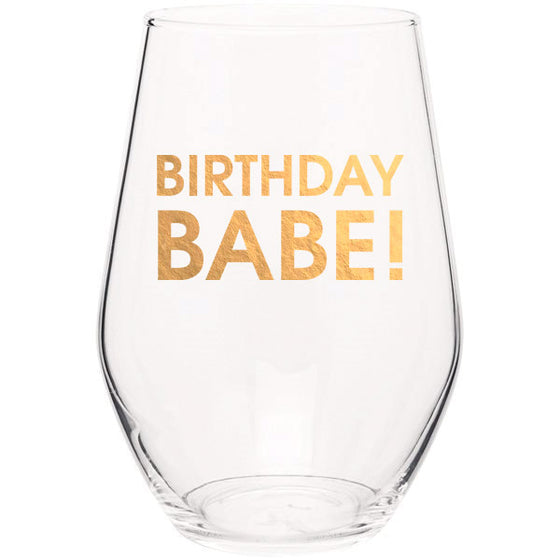 Birthday Babe - Gold Foil Stemless Wine Glass (Slight Imperfections)