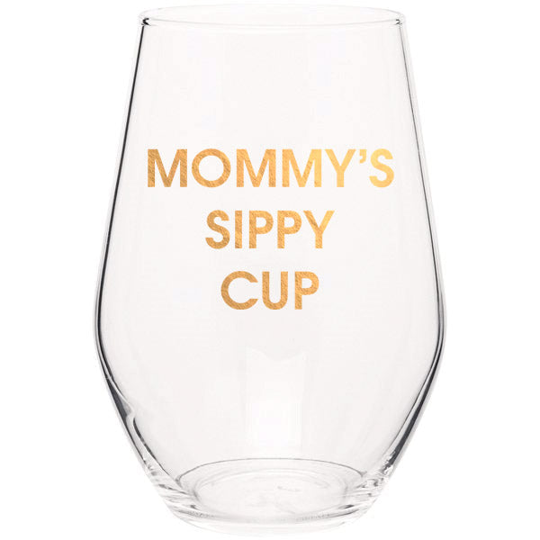 Mommy's Sippy Cup - Gold Foil Stemless Wine Glass (Slight Imperfections)
