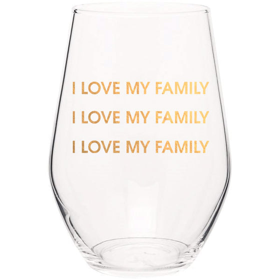 Chez Gagne Chez Gagné I Love My Family I Love My Family - Gold Foil Stemless Wine Glass