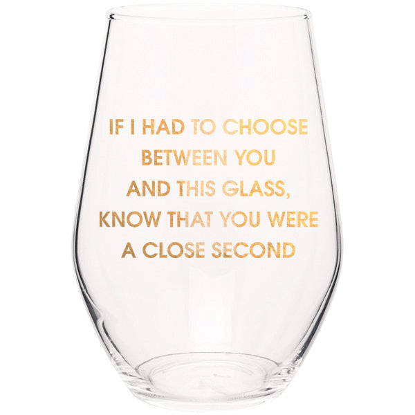 Close Second- Gold Foil Stemless Wine Glass
