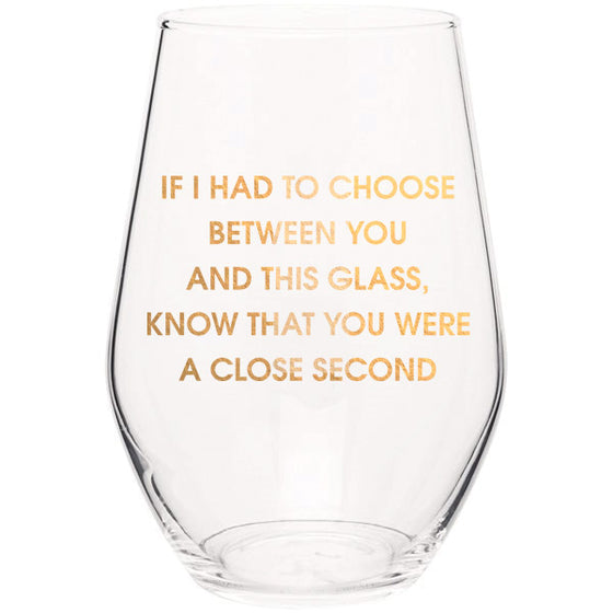 Close Second- Gold Foil Stemless Wine Glass (Slight Imperfections)