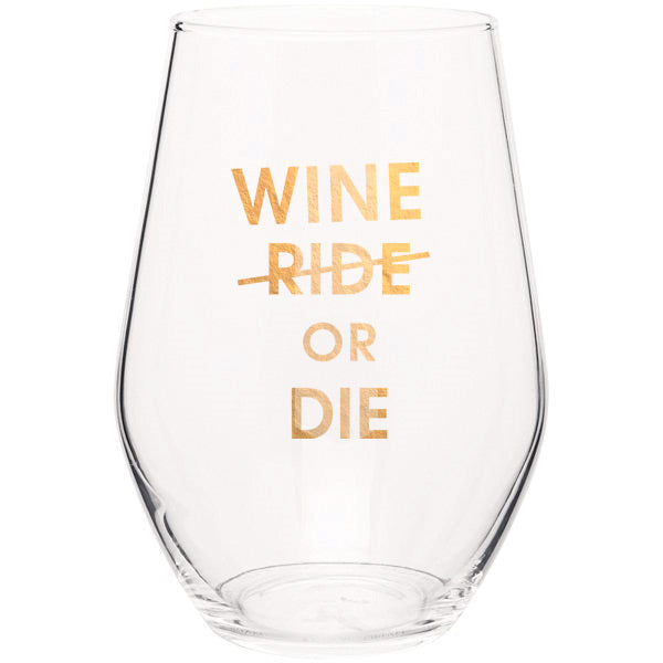 Wine or Die- Gold Foil Stemless Wine Glass (Slight Imperfections)
