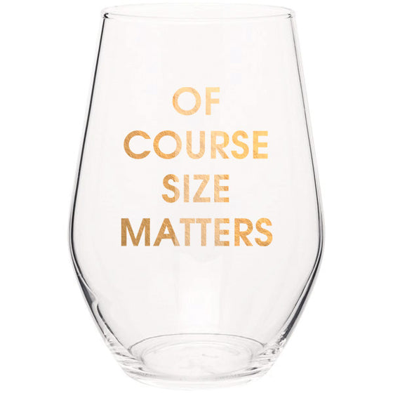 Of Course Size Matters - Gold Foil Stemless Wine Glass (Slight Imperfections)