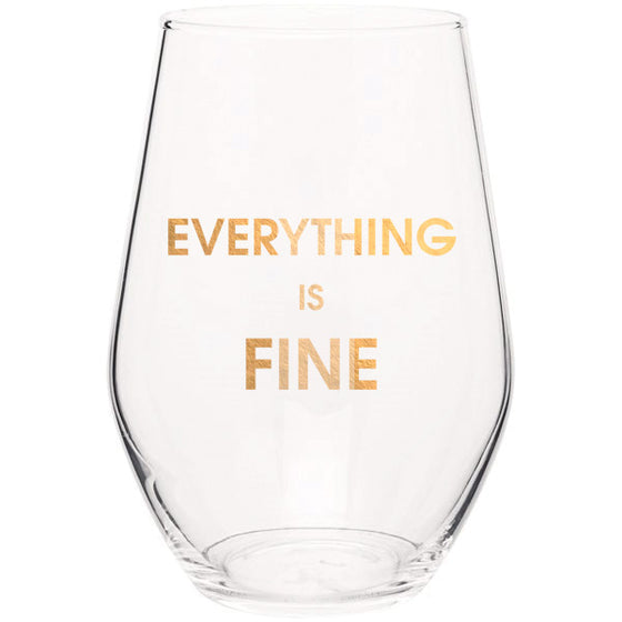 Chez Gagne Chez Gagné Everything is Fine - Gold Foil Stemless Wine Glass