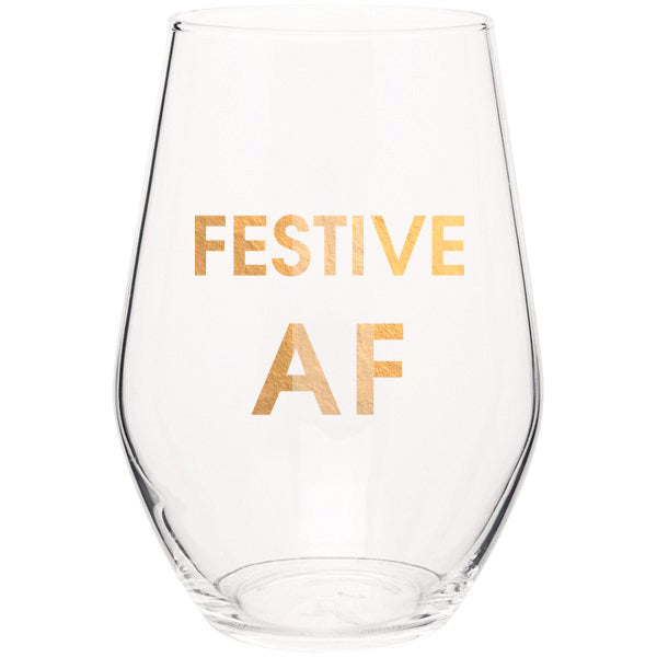 Festive AF- Gold Foil Stemless Wine Glass (Slight Imperfections)