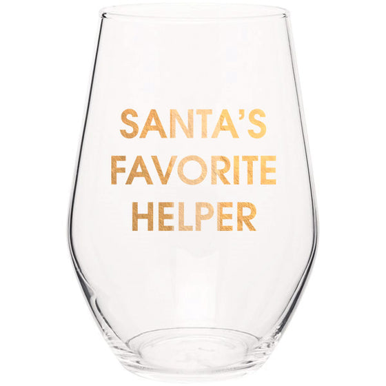 Santa's Favorite Helper- Gold Foil Stemless Wine Glass (Slight Imperfections)