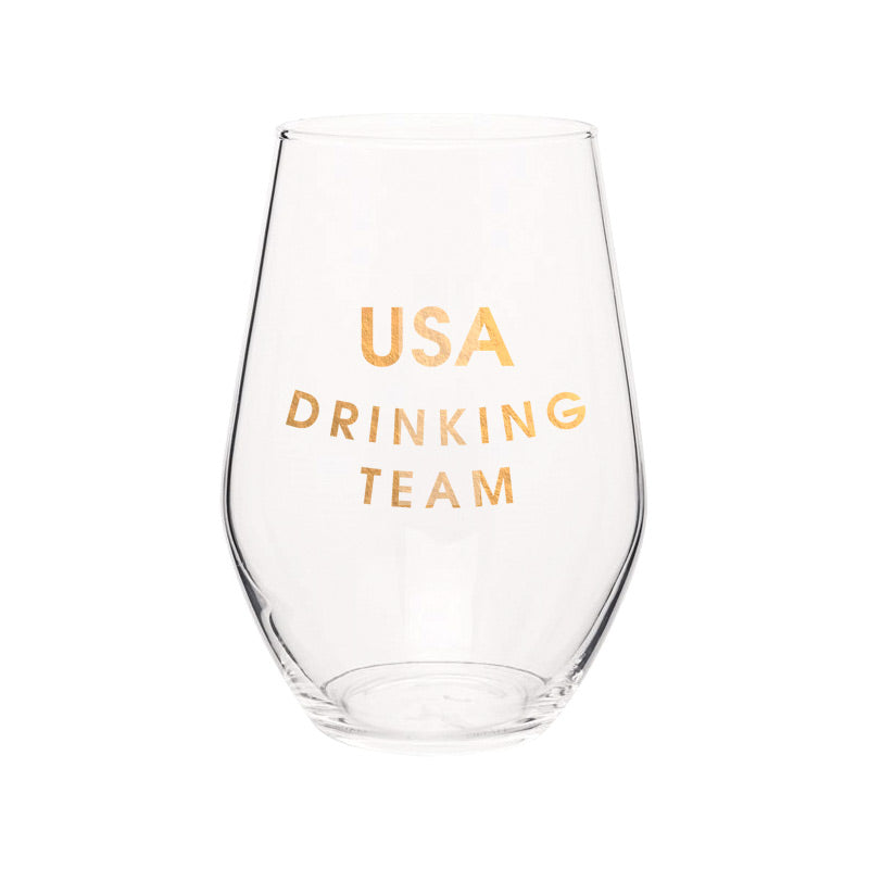 Chez Gagne Chez Gagné USA Drinking Team- Gold Foil Stemless Wine Glass