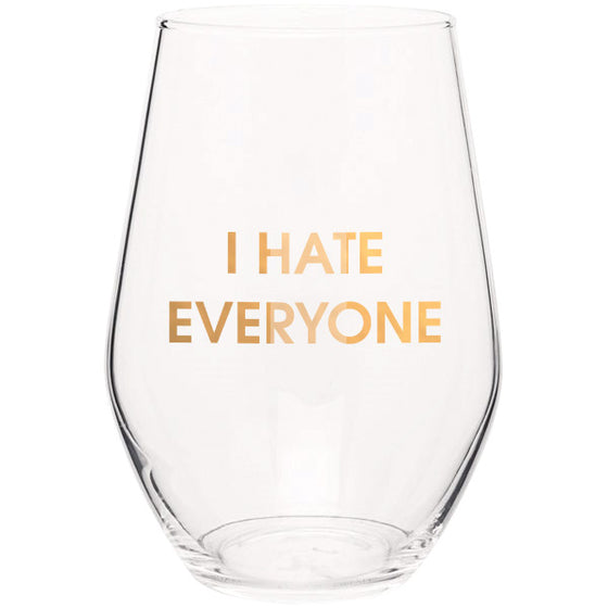I Hate Everyone 19oz Stemless Wine Glass