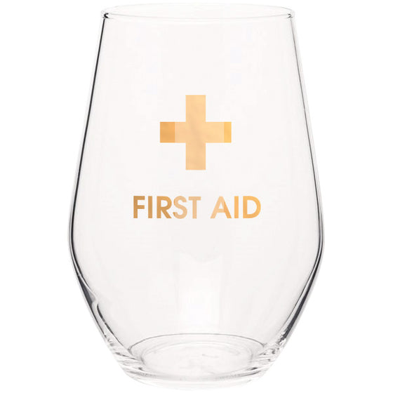 First Aid 19oz Stemless Wine Glass