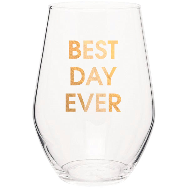 Best Day Ever - Gold Foil Stemless Wine Glass (Slight Imperfections)