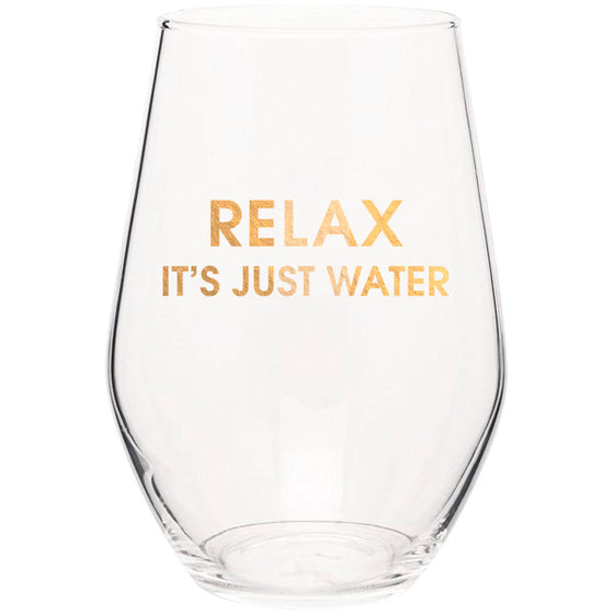Relax It's Just Water - Gold Foil Stemless Wine Glass (Slight Imperfections)