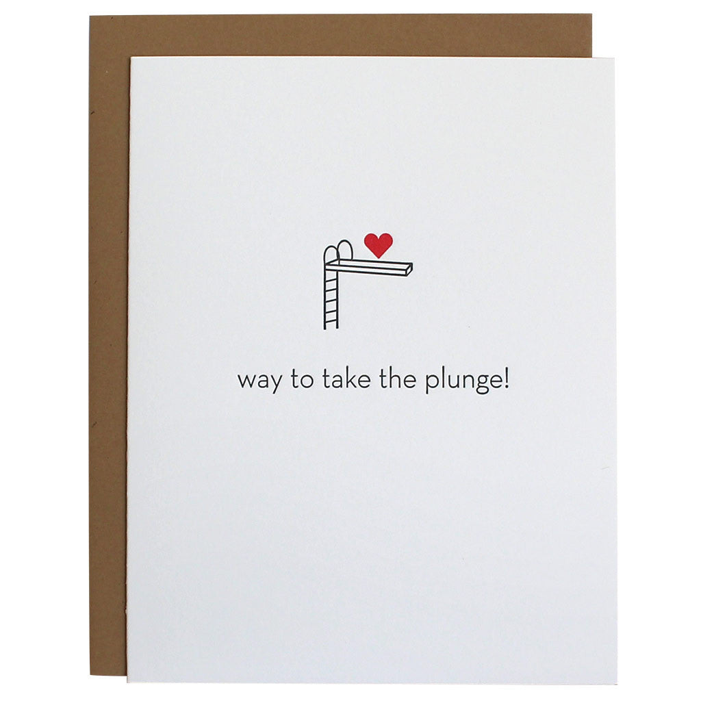 Take the Plunge Wedding Letterpress Card