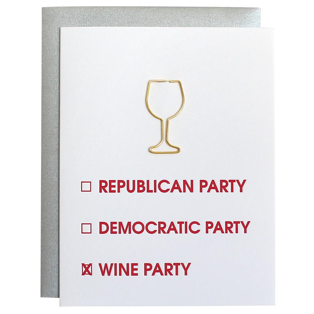 Election Card Wine Party Paper Clip Letterpress Card
