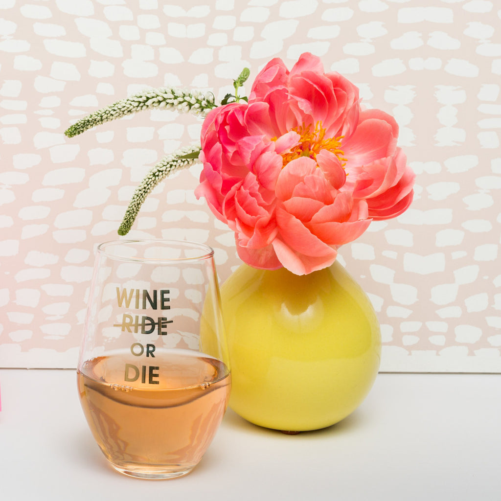 Wine or Die 19oz Stemless Gold Foil Printed Wine Glass by Chez Gagne