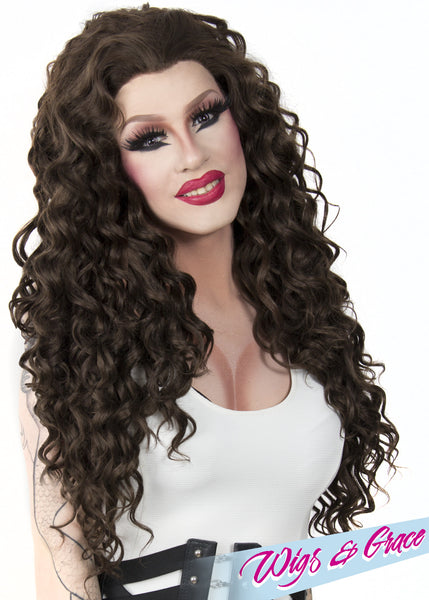 BRUNNETTE ESMERALDA - Wigs and Grace , drag queen wig, drag queen, lace front wig, high quality wig, rupauls drag race wig, rpdr wig, kim chi wig