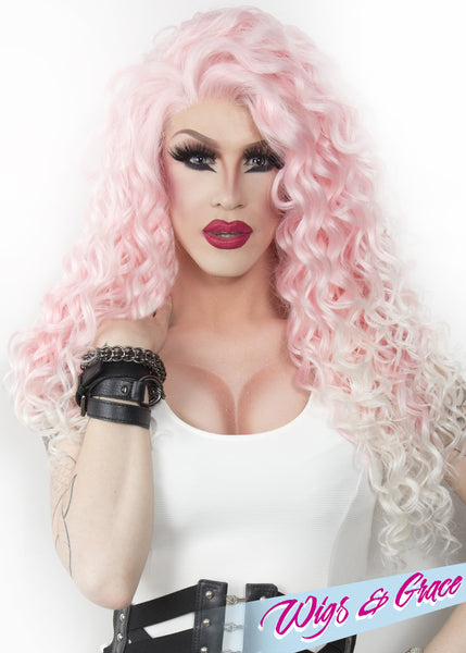 PINK / BEYOND PLATINUM ESMERALDA - Wigs and Grace , drag queen wig, drag queen, lace front wig, high quality wig, rupauls drag race wig, rpdr wig, kim chi wig