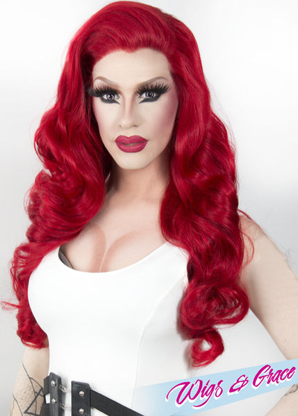 RED FATIMA - Wigs and Grace , drag queen wig, drag queen, lace front wig, high quality wig, rupauls drag race wig, rpdr wig, kim chi wig