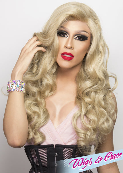 SANDY BLONDE FATIMA - Wigs and Grace , drag queen wig, drag queen, lace front wig, high quality wig, rupauls drag race wig, rpdr wig, kim chi wig