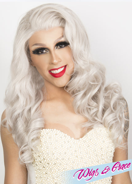 SILVER APHRODITE - Wigs and Grace , drag queen wig, drag queen, lace front wig, high quality wig, rupauls drag race wig, rpdr wig, kim chi wig