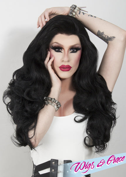 RAVEN BLACK FATIMA - Wigs and Grace , drag queen wig, drag queen, lace front wig, high quality wig, rupauls drag race wig, rpdr wig, kim chi wig