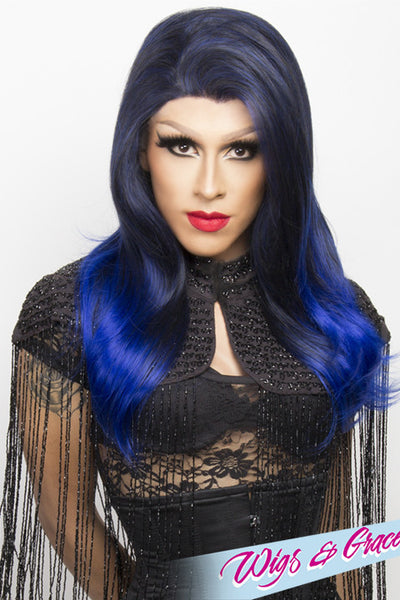 BLUE OMBRE BETSY - Wigs and Grace , drag queen wig, drag queen, lace front wig, high quality wig, rupauls drag race wig, rpdr wig, kim chi wig