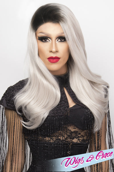 BLACK ROOTS SILVER BETSY - Wigs and Grace , drag queen wig, drag queen, lace front wig, high quality wig, rupauls drag race wig, rpdr wig, kim chi wig