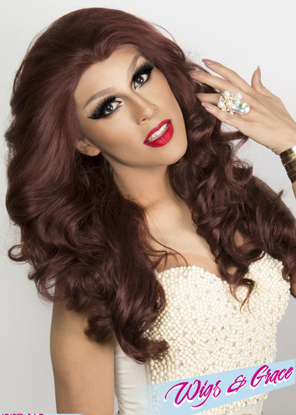 DEEPEST AUBURN APHRODITE - Wigs and Grace , drag queen wig, drag queen, lace front wig, high quality wig, rupauls drag race wig, rpdr wig, kim chi wig
