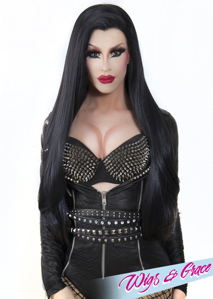 RAVEN BLACK DONATELLA - Wigs and Grace , drag queen wig, drag queen, lace front wig, high quality wig, rupauls drag race wig, rpdr wig, kim chi wig
