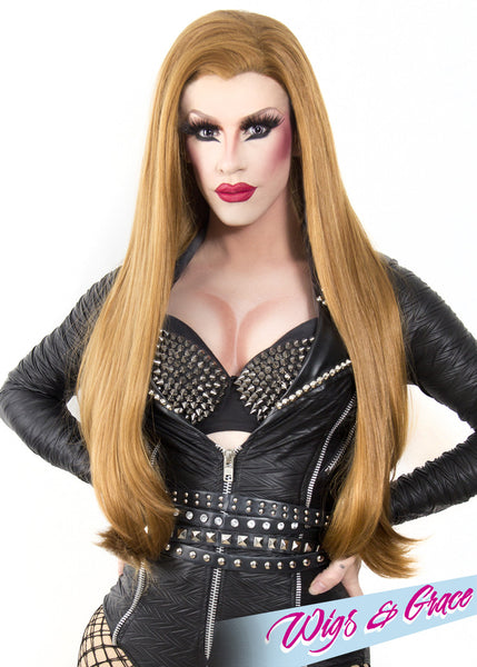GOLDEN AUBURN DONATELLA - Wigs and Grace , drag queen wig, drag queen, lace front wig, high quality wig, rupauls drag race wig, rpdr wig, kim chi wig