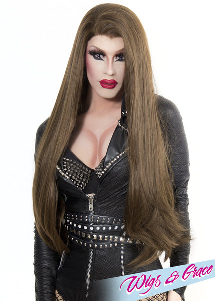 HIGHLIGHTED BRUNETTE DONATELLA - Wigs and Grace , drag queen wig, drag queen, lace front wig, high quality wig, rupauls drag race wig, rpdr wig, kim chi wig