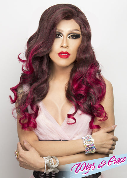 RICH CHERRY OMBRE FATIMA - Wigs and Grace , drag queen wig, drag queen, lace front wig, high quality wig, rupauls drag race wig, rpdr wig, kim chi wig