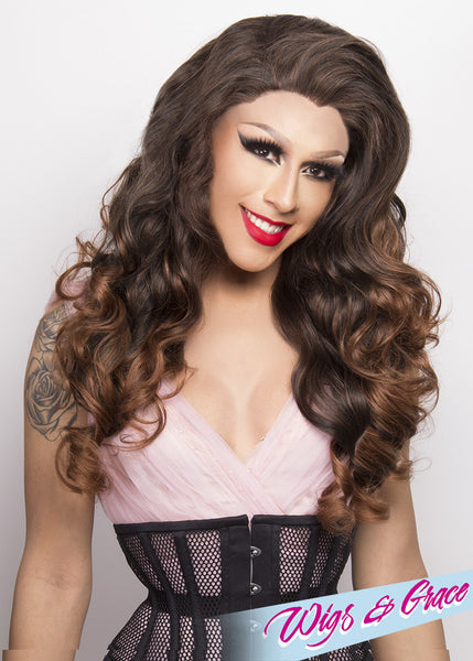 MAHOGANY FATIMA - Wigs and Grace , drag queen wig, drag queen, lace front wig, high quality wig, rupauls drag race wig, rpdr wig, kim chi wig