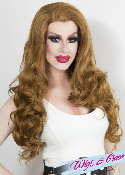 GOLDEN AUBURN FATIMA - Wigs and Grace , drag queen wig, drag queen, lace front wig, high quality wig, rupauls drag race wig, rpdr wig, kim chi wig