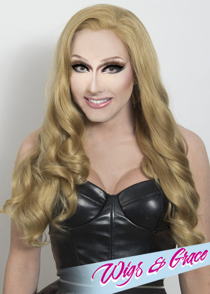 HONEY BLONDE APHRODITE - Wigs and Grace , drag queen wig, drag queen, lace front wig, high quality wig, rupauls drag race wig, rpdr wig, kim chi wig